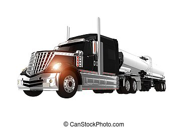 Chromed Tanker Truck - Black and Chromed Tanker Semi Truck...