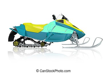Snowmobile Machine Isolated on White Snowmobile Side View...