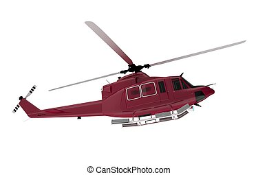 Red Rescue Chopper Isolated on White. Rescue Helicopter 3D...
