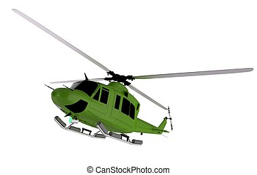 Green Helicopter Graphic. Helicopter Isolated on White.
