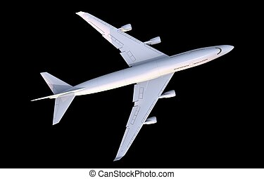 Commercial Airplane Top View Illustration Isolated on Black