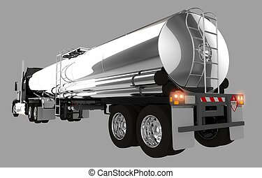Tanker Trailer Isolated on Gray Background.