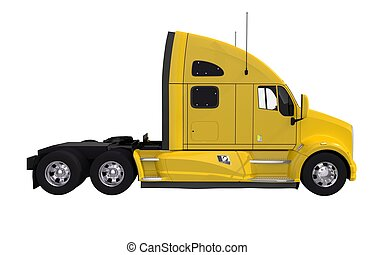 Yellow Tractor Truck Isolated on White. Modern Tractor Truck...