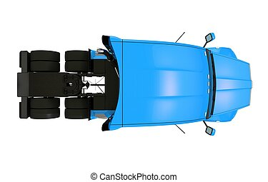 Top View Tractor Trailer Illustration Isolated.