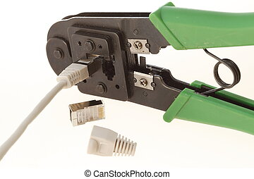 crimping tool - Crimping tool with RJ45 jack Isolated on...