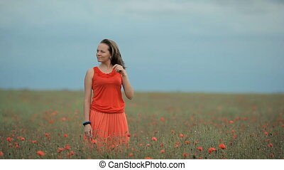 Beautiful Girl in red dress among the poppy field - Nice...