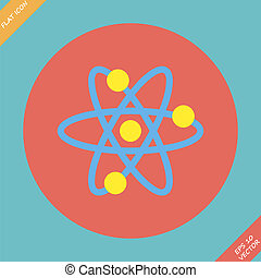 Atomic Symbol Icon - vector illustration. Flat design...