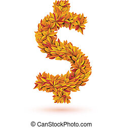 Dollar sign of autumn fall bright leaves. Vector...