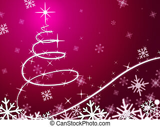 Pink Christmas Tree Background Means Snowing And Freezing -...