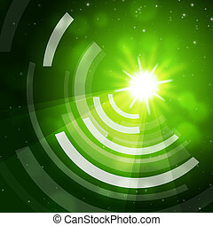 Green Sun Background Means Giving Offf Frequencies - Green...