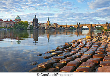 Prague. - Image of Charles Bridge in Prague during sunrise.