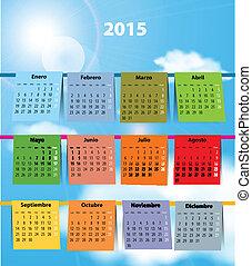 Colorful Spanish calendar for 2015 - Spanish calendar for...