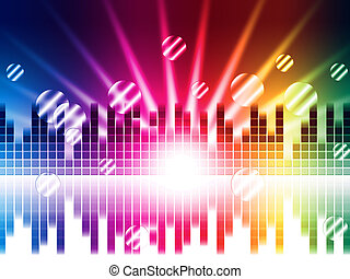 Bright Colors Background Shows Sound Light Waves And Circles...