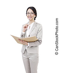 young woman with notebook in hand, isolated on white.