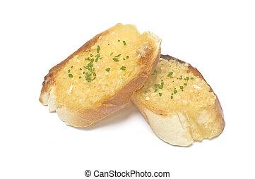 garlic bread on white blackground