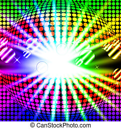 Disco Ball Background Means Bright Beams And Dancing - Disco...