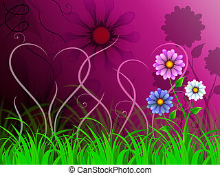 Flowers Background Shows Colorful Pretty And Natural World -...