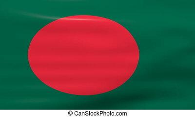 Waving Bangladesh Flag, ready for seamless loop.
