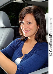 Beautiful Driver - Attractive Young Woman Sat In The Drivers...