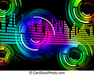 Digital Music Beats Background Means Electronic Music Or...