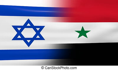 Waving Israel and Syria Flag, ready for seamless loop