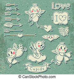 Cupids, arrows, hearts and other vintage elements - Set...