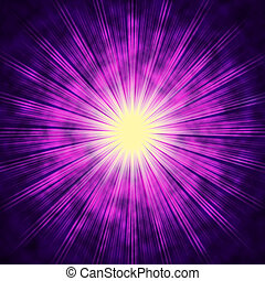 Purple Sun Background Means Bright Radiating Star - Purple...