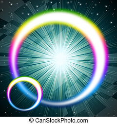 Rainbow Circles Background Means Colorful Round And Brilliant St