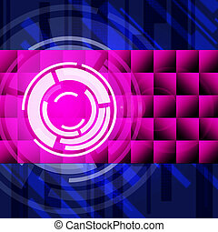 Purple Circles Background Shows Long Play Record - Purple...