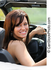 Happy Driver - Beautiful Brunette Young Woman Sat In A...