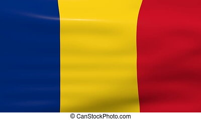 Waving Romania Flag, ready for seamless loop.
