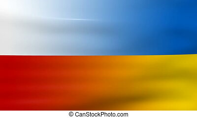 Waving Poland and Ukraine Flag, ready for seamless loop.