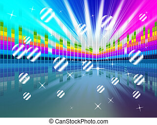 Colorful Soundwaves Backround Means Music Sparkles And Party...
