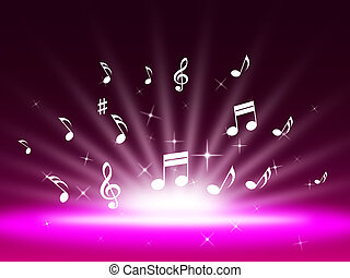 Purple Music Backgrond Shows Singing Melody And Pop - Purple...
