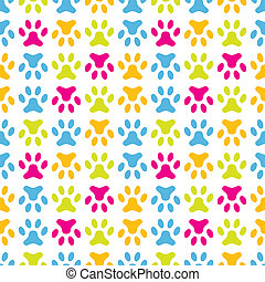 Animal seamless vector pattern of paw footprint. Endless...