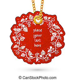Flowers plants frame. - Label tag hanging on golden chain....