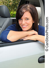 Road Trip - Attractive Woman Taking A Break During A Road...
