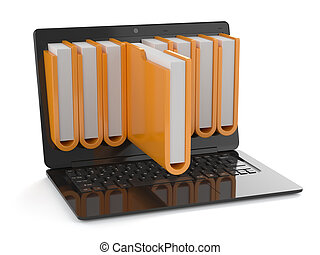 Storage concept - 3d render of black laptop with folders...