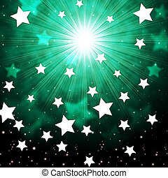 Green Sky Background Shows Radiance Stars And Heavens -...