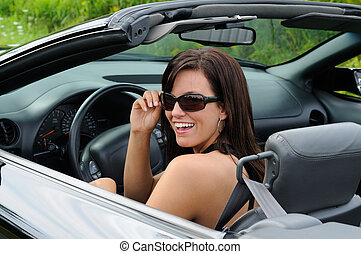 Sexy Girl - Beautiful Brunette Young Woman Driving A Sports...
