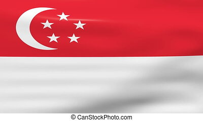 Waving Singapore Flag, ready for seamless loop.