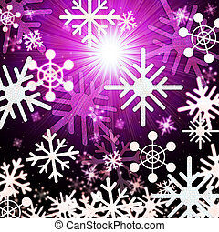 Snowflake Background Means Snowing Sun And Winter