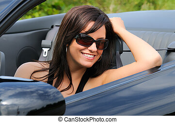 Sports Car Girl - Beautiful Brunette Young Woman Sat In A...