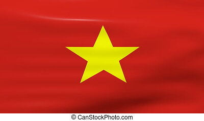 Waving Vietnam Flag, ready for seamless loop.