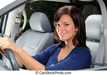 Woman Driver - Attractive Woman Sat In The Drivers Seat Of A...