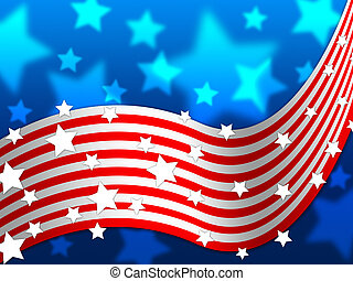 American Flag Background Shows America Stars And Nation -...