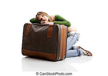 Tired woman - Beautiful young woman with old leather...