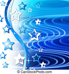 Blue Rippling Background Means Curves Round And Stars - Blue...