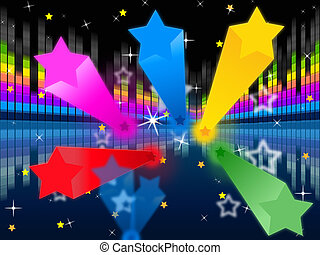 Stars Soundwaves Background Shows Colorful And Music - Stars...