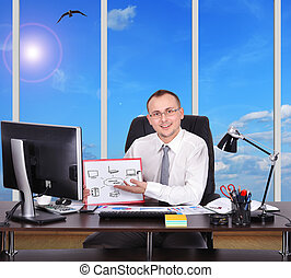 computer network - businessman in office with clipboard with...